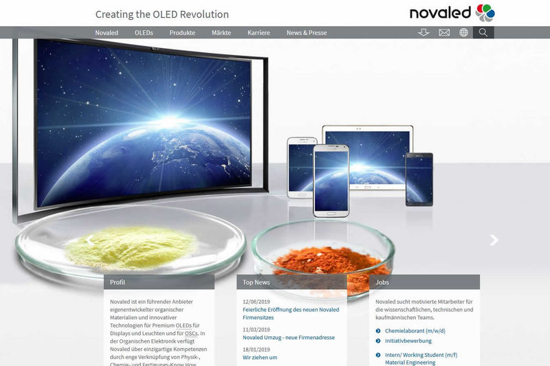 NOVALED GmbH Screenshot Webseite