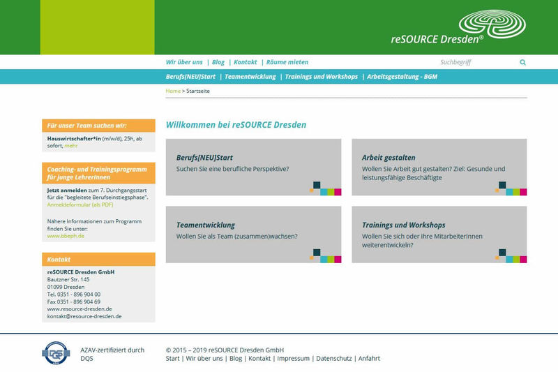 reSOURCE Dresden GmbH Screenshot Webseite