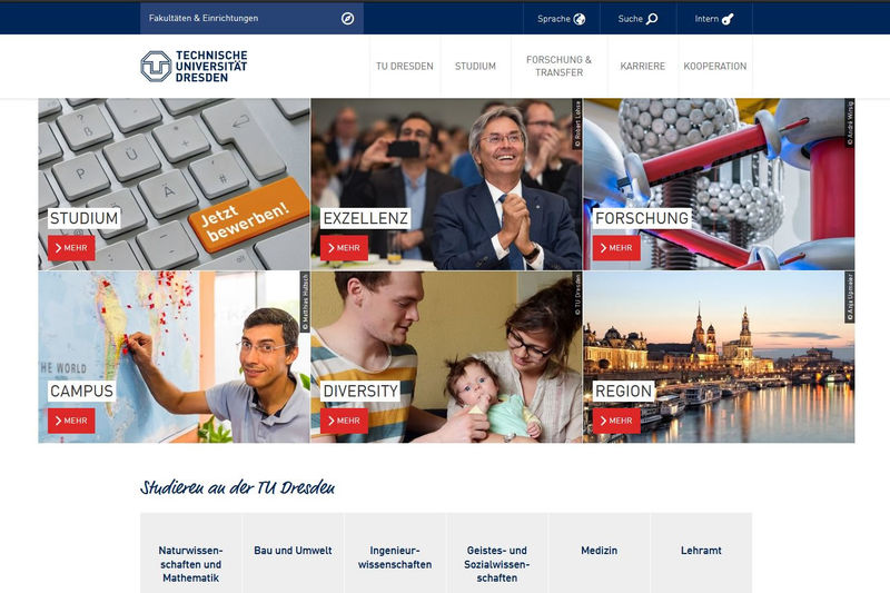 TU Dresden Screenshot Webseite